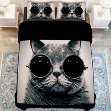 Free shipping Novelty gift cool black cat wear sunglasses pattern Quilt duvet Cover+2 pillow case for twin full queen king