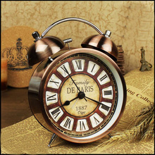 2016 New Twin Bell Alarm Clock Metal Finish Desktop for Bedroom Kids Bedside Watch with Night Light Function Roman Numbers(China)