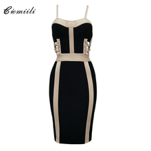 CIEMIILI Spaghetti Strap Fashion Patchwork Lace Up Hollow Out Bandage Dress 2017 Summer New Bodycon Above Knee Sexy Club Wear(China)