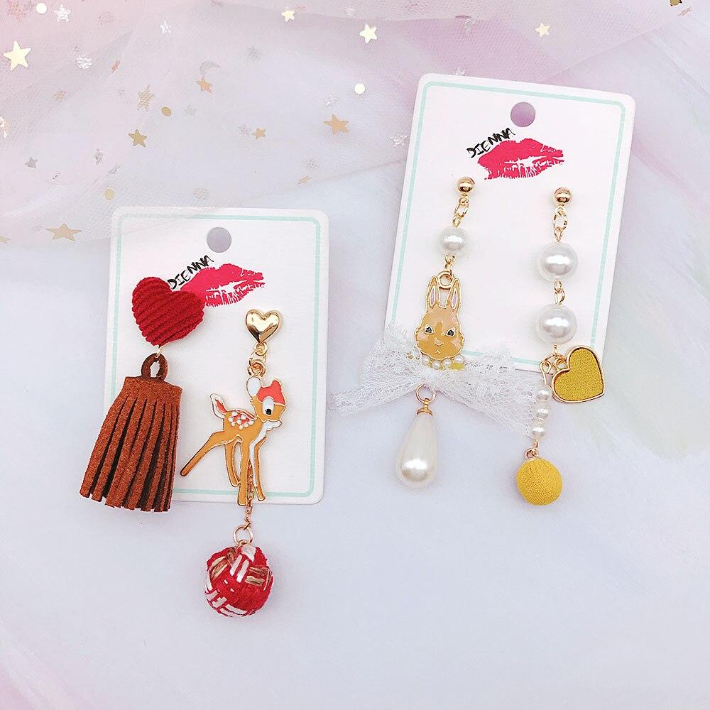 Cute Asymmetric Earring Cartoon Rabbit Bow Clock Drop Dangle Women Jewelry New