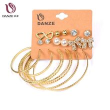 Danze 9 Pairs/lot Vintage Punk Mixed Bowknot Heart Stud Earrings Set For Women Big Circle Ball Earing Female Jewelry Brincos(China)