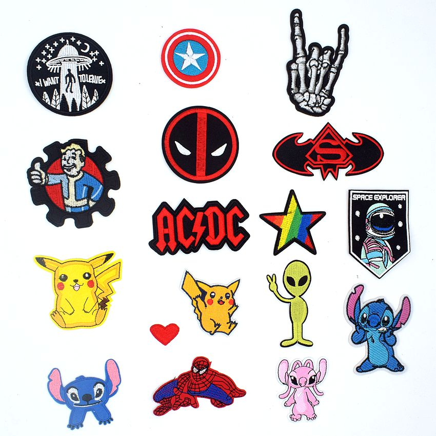 New Deadpool Stitch Pikachu Characters Spiderman Alien Hand Patches Fabric Sticker For Clothes Badge Embroidered Appliques DIY