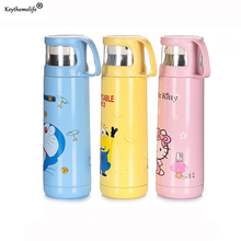 Keythemelife Cartoon Child Insulation Cup Water Bottle 500ml Hello Kitty Lovely Stainless Steel Insulation Pot E0