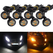 2pcs Car Styling 23mm 5730-SMD Dual Color White Amber Eagle Eye LED DRL Turn Lights For Car motor truck offroad