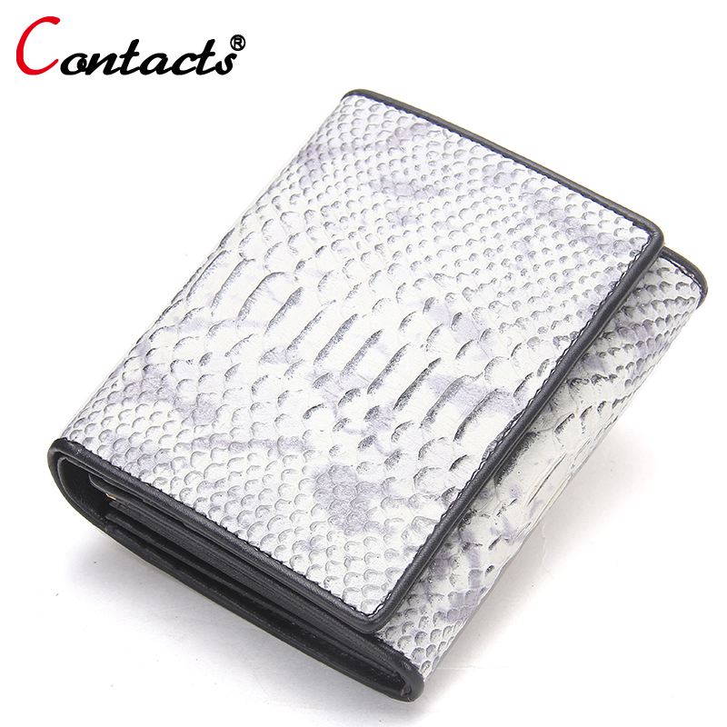 CONTACTS Serpentine Small Wallet Short Genuine Leather Wallet Women Wallets Female Purse Coin Purse Lady Credit Card Holder <br>