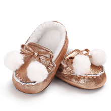 2017 New winter PU leather warm baby girl shoes solid cotton bottom Butterfly-knot first walkers 5 colors slip-on baby boots(China)