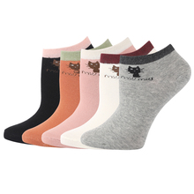 Korea Kawii Cute Cat Food Stripes Cartoon Women No Show Socks Cotton Funny Cheap Summer Low Cut Ankle Socks 5 Pairs(China)