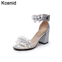 Kcenid 2017 New genuine leather shoes woman sandals luxury bridal pumps open toe chunky heels transparent crystal sandals silver