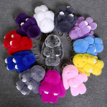 rabbit plush keychain Cute Simulation Rabbit Animal Fur Doll Plush Toy Kids Birthday Gift doll Keychain bag Decorations Stuffed
