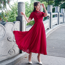 2017 New Spring Vintage Women Long dress Short Sleeve Solid Slim Black Fungus And Big Place Dresses Red 8066