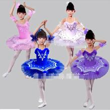 Children Feather Pancake Swan Lake Ballet Costume Ballerina Dress Kids Short Feminino Ballet Tutu Skirt Dance Dress For Girls(China)