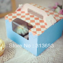 4 hole cupcake box, muffin cake box, cake container, cake packing16.5cmx16.5cmx10cm - free shipping(China)