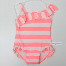 Baby Girls Swimwear Orange & White Striped 2-7 Y Girls One Piece Swimsuit Kids swimming wear with Lace Wrinkle sw0614(China)