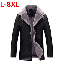 8XL 6XL 5XL Russian Winter Thick Leather Garment Business Casual Leather Jacket Lapel Cashmere Lined High Quality Warm PU Coat(China)