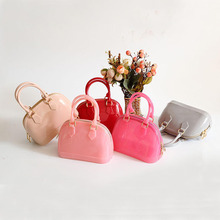 Liyongyi Small Size 18cm Kid Girls PVC Candy Colors Jelly handbag Shell Shoulder Bag SiliconTote Beach messenger Bag bolsa Purse