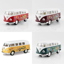 4in1 Kinsmart 1962 VW T1 Bus Love&Peace1/32 alloy models T1 VAN Diecast Metal Pull Back Car Toy For Gift Collection(China)