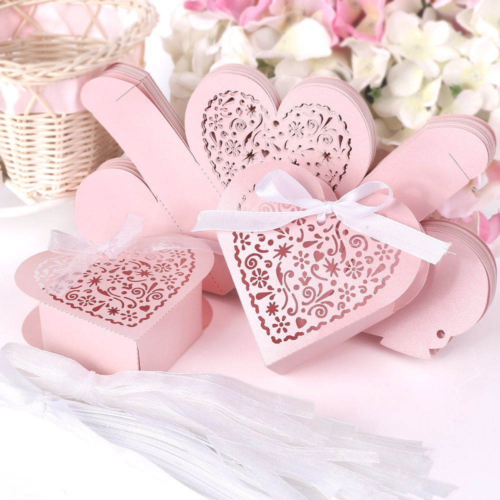 25 x Luxury heart shape Wedding Favour Favor Sweet Cake Gift Candy ...