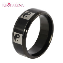 Keisha Lena 2016 New Arrival Titanium Ring for Men and Women Hot Sale Black Men Ring Wholesale tai ci(China)