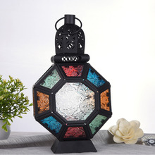 Iron Glass Moroccan retro Style Candlestick Candle Holder chandelier European Style Home Decoration Lantern Indoor party wedding(China)
