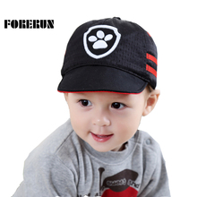 FORERUN 2017 Baby Caps Letter Embroidery Cartoon Baby Hats for Boys Kids Breathable Mesh Sun Hats Gorro Bebe Baseball Visors