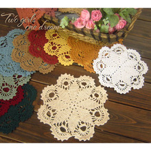 Handmade Crochet DIY Placemat Retro Hotel Dinner Decor Coaster Flower Clothes Accessory 20CM  Table Lace Doily Cup Pad 20pcs/lot