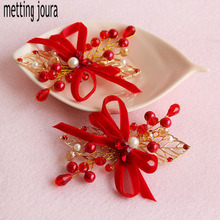 2pcs Metting Joura Wedding Party Bridal Red Flower Hair Clip With Beads Hair Pin Wtih beads Hair Stick Hair Accessories