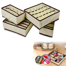 4pcs Home Family Party Nonwovens Practical Tidy Organiser Underwear Box Socks Shorts Drawer Ties Storage Bag Organizer Pouch
