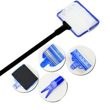 Aquarium Tank Complete Clean Set Fish Net Gravel Rake Algae Scraper Fork Sponge Brush Glass Aquarium Cleaner Tool Kit