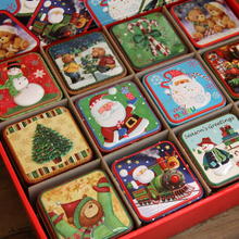 12 pcs/lot Cartoon Mini Christmas Box,Christmas Eve Candy Cake Boxes for Kids,Santa Sacks Christmas Crafts,Metal Storage Box Bag