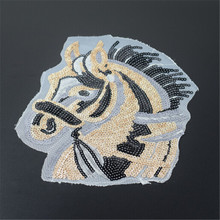 Girl clothing golden patch 25cm animal horse sequins diy Spring Jacket, Summer T shirt, Autumn Hoodie, Winter down coat patches