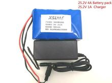 New 24V 4Ah 6S2P 18650 Battery li-ion battery 25.2v 4000mah electric bicycle moped /electric/lithium ion battery pack+1A Charger