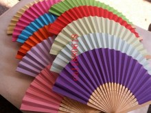 500pcs/lot Free Shipping 2015 Newest fan handmade wedding paper Fans craft wedding Favor Gift 16 colors