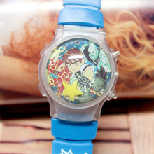 Best Seller Children Watches Wholesale 100pcs/lot Waterball Interesting Cartoon Ben 10 Color Light Flashing Boy's Wristwatches