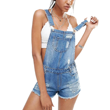 Fashion Womens Jumpsuit Denim Overalls Summer sexy Strap Hole Ripped Rompers Plus size Casual Playsuit Short Jeans Coverall 2017