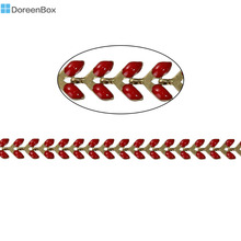 "Doreen Box Copper Spiky Chains Findings Gold color Red Enamel 7x6mm( 2/8"" x 2/8""), 1 Piece(Approx 0.5 M/Piece)"