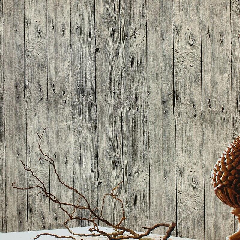 Nostalgic retro Chinese antique wood plank papel de parede living room dining backdrop old shop engineering veneer wallpaper<br>