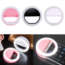 3 Colors Low Power Portable Mobie Phone Selfie Makeup LED Ring Flash Light Camera photography For Phone Android iPhone Samsung(China)