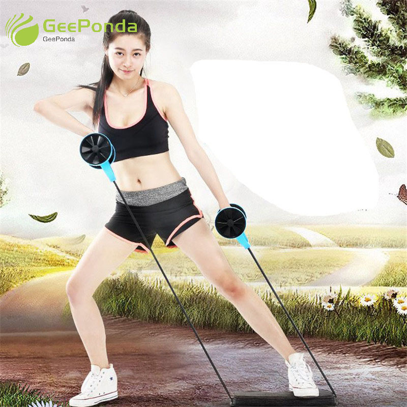 5cc49dd5d0a GeePonda Thicken Mat Latex Rope Ab Roller Wheel Abdominal Exercise Muscle  Trainer Fitness Equipment for Home Gym ABS Workout Kit