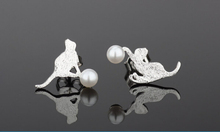 New arrival silver plated cute cat pearl earring for women girl lovely animal cat stud earring 925 high-grade ear accessories