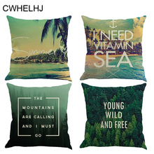 Summer Geometric Decorative Cushion Cover Sea/ Beach/Green Forest Sofa Seat Decoration Cushion covers Cotton Linen Pillow Cover