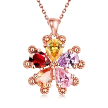 Luxury Colorful Cubic Zirconia Fashion Women Girl Bijoux Popular Pendant Necklace Red Austria Crystal Flower Heart Jewelry Gifts