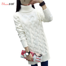 2017 New Women's Turtleneck Pullover Long Knitting Wool Sweaters Woman White Pullovers pull femme hiver Knitted jumper dress