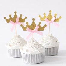 10pcs/lot Little Princess Crown Cupcake Topper Theme Cartoon Party Supplies Kids Boy Birthday Party Decorations