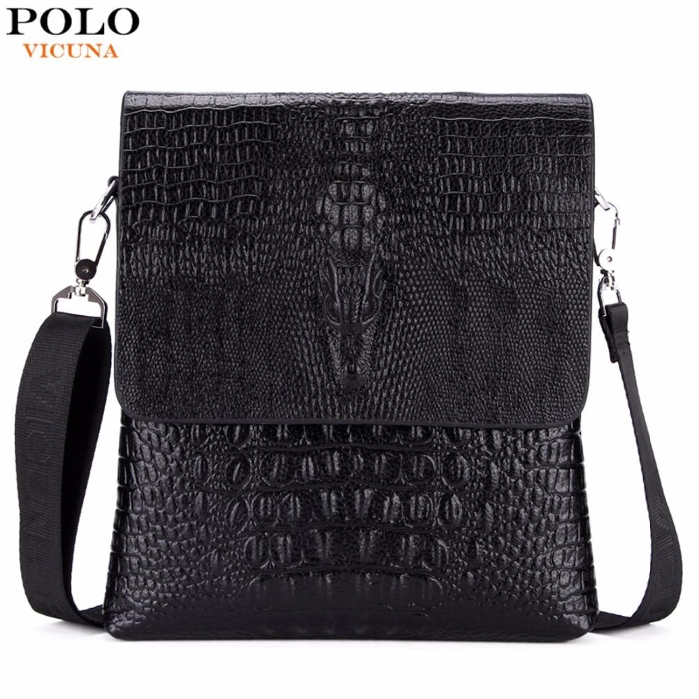 VICUNA POLO Luxury Embossed Alligator Pattern Famous Brand Men Messenger Bags Classic Business Mens Shoulder Bag Briefcase Bag<br><br>Aliexpress
