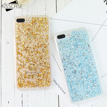 KISSCASE For iPhone 7 5 5s SE 6 6s 7 Plus Case Silicone Soft TPU Silicon Glitter Bling Gold Back Cover For iPhone 7 7 Plus Case(China)