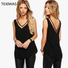 TEXIWAS 2017 Summer New Solid Color Sexy V-neck Yarn Stitching Sleeveless Chiffon Shirt Womens Tops And Blouses