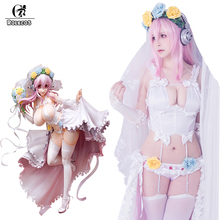 Rolecos Wedding Super Sonico Cosplay Costume Anime Cosplay Sexy White Bride Costume Sweet Ball Gown Tulle Dress Noble for Party