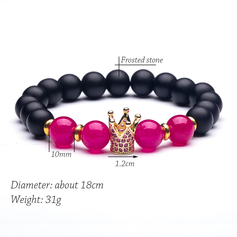 Natural stone Strand Bracelet men 4 style Micro Pave CZ 10mm Disco Crown Charms Bracelets for women Mens valentine's day jewelry (5)