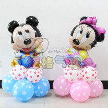 11pcs/lot new year toys Mickey Minnie foil upright Balloons happy Birthday Party Decorations 2.8g latex Wave point air balloon