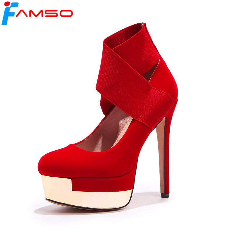 FAMSO 2018 New Shoes Women Pumps Black red Wedding Shoes gold Toe Spring Autumn Shallow Platforms Pumps Female Gladiator Pumps<br>